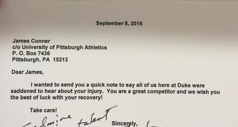 duke head coach david cutcliffe sends classy get well letter to pitt rb james conner