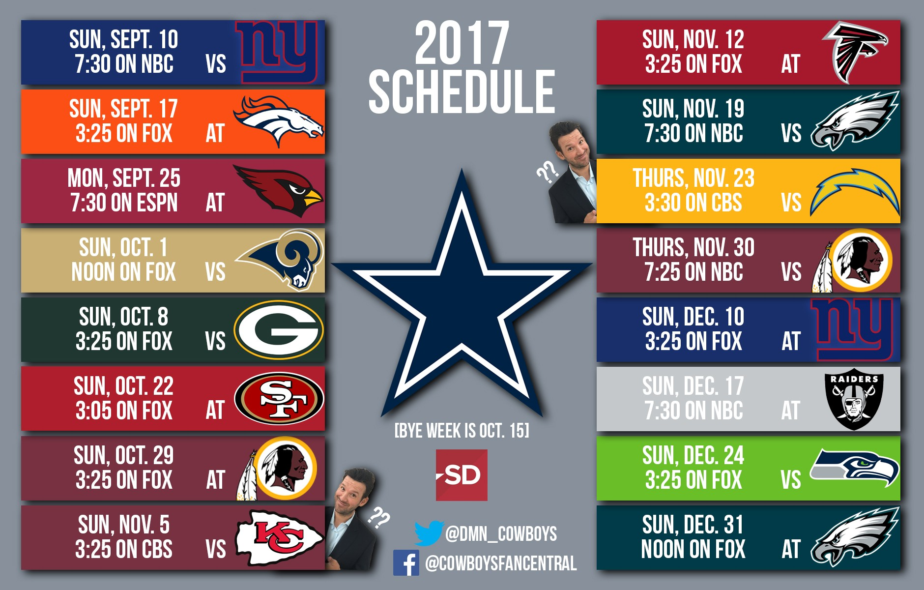 Way-too-early predictions for Cowboys' 2017 schedule: Why ...