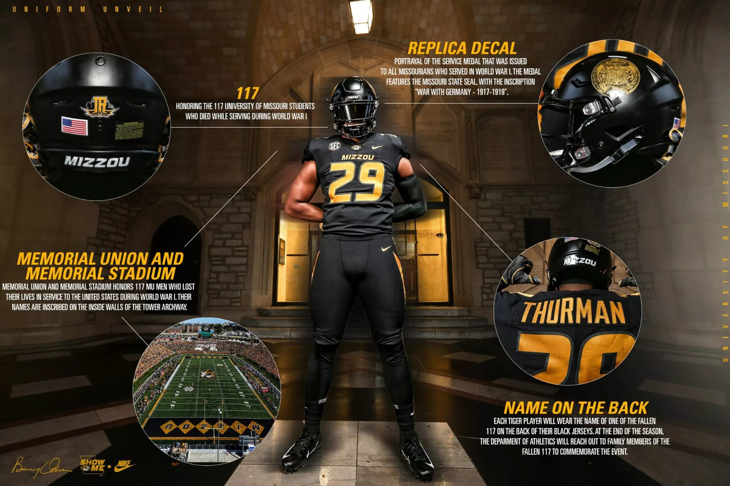LOOK  Mizzou Football unveils uniforms to honor Veterans day 59657adbc