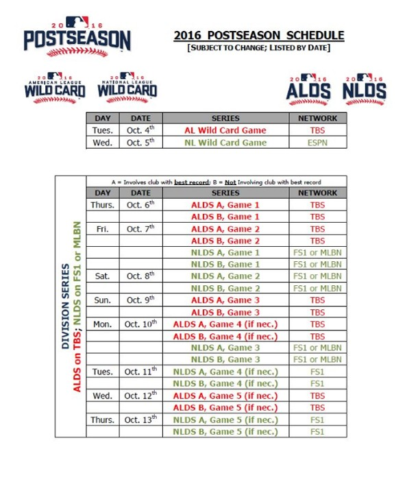 Major League Baseball Releases 2016 Postseason Schedule