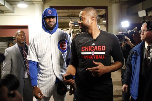 release date: 8715e 932d1 LeBron James fufills bet, arrives to game wearing Cubs jersey