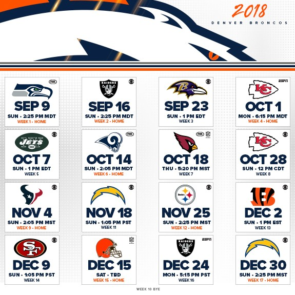 Denver Broncos Schedule: The Five Most-intriguing Games On The Broncos' 2018 Schedule