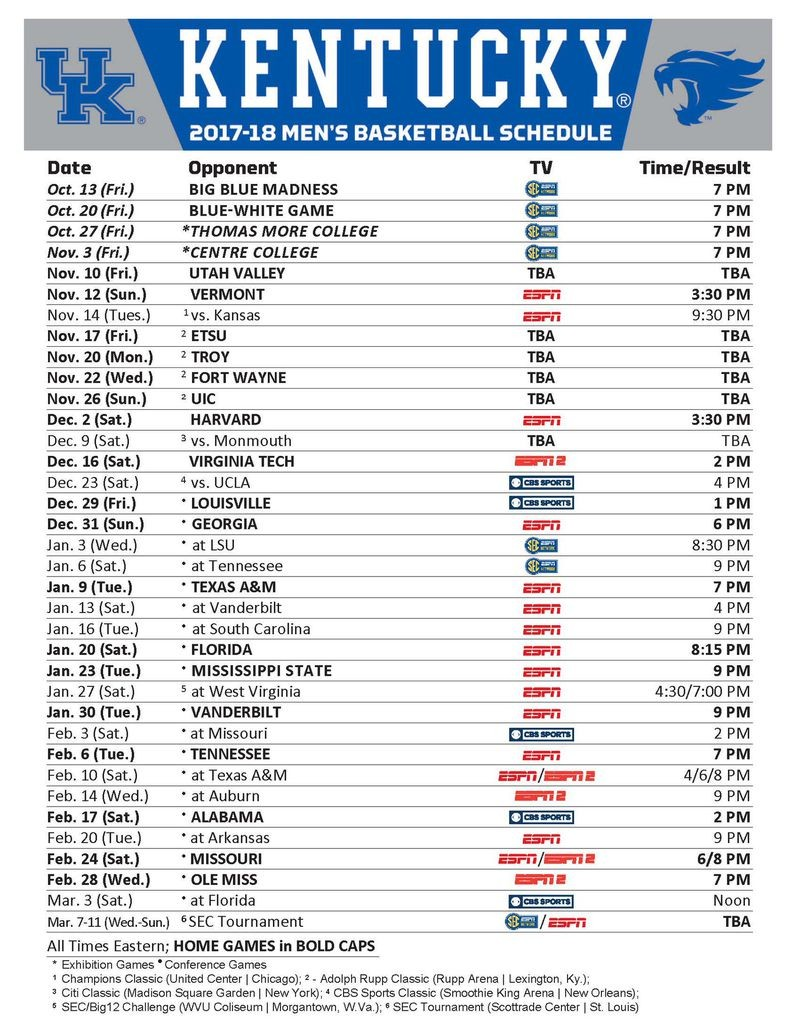 Kentucky Wildcats Basketball: Full 2017-18 Schedule, Channels, Dates and Times Set