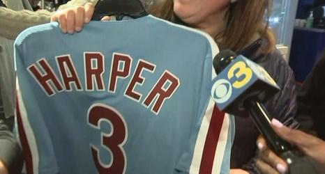 62fbc1919 Bryce Harper Phillies Jerseys Already Selling Big At Citizens Bank Park