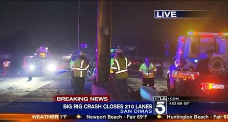 Overturned big rig snarls traffic on 210 Freeway in San