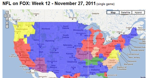Week 7 NFL Viewing Guide: TV Market Coverage Map