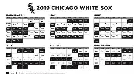 Chicago White Sox 2019 Schedule White Sox release 2019 schedule, with a home opener vs. Seattle