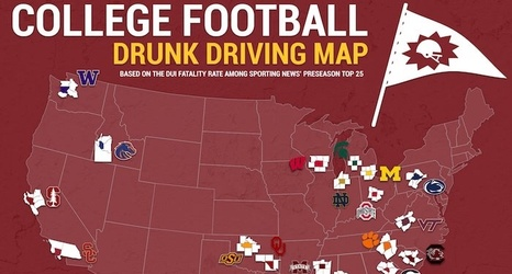 2018 College Football Drunk Driving Map
