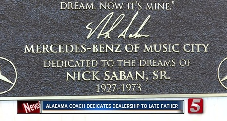 Nick Saban Opens Mercedes Benz Dealership In Nashville Dedicates To Late Father