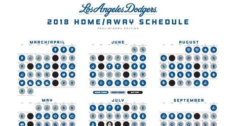 dodgers 2018 preliminary schedule season begins concludes against