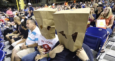 The Angels Ordered A Fan To Take A Paper Bag Off His Head Nbc Sports