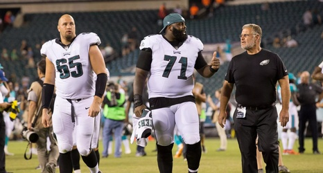Philadelphia Eagles Offensive Tackle Jason Peters blocks