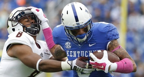 32881c7c2 Kentucky Football uniform vs EKU features pink gear for Breast Cancer  Awareness Month