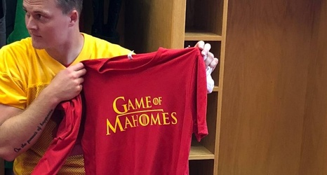 17760198ecd T-Shirt time: Chiefs get Game of Thrones, Mahomes parody shirts in locker  room