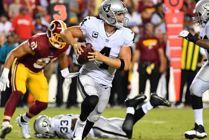 Raiders QB Derek Carr listed as questionable for Sunday