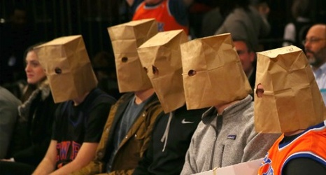 Disgruntled Knicks Fans Wear Paper Bags On Heads At Msg