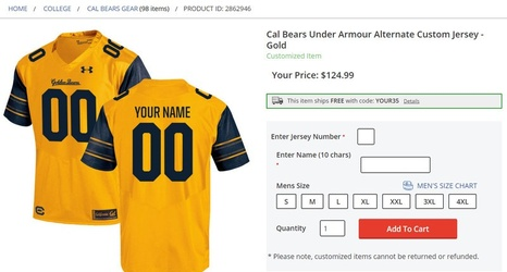 a6895c6cd Online store Fanatics reveals replica gold Under Armour jersey for football