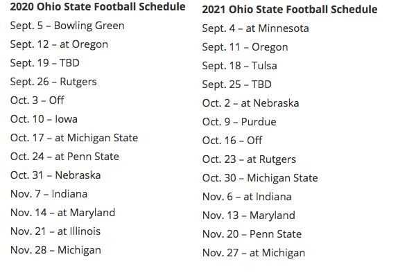 Big Ten Announces 2020 2021 Conference Football Schedules For Ohio State